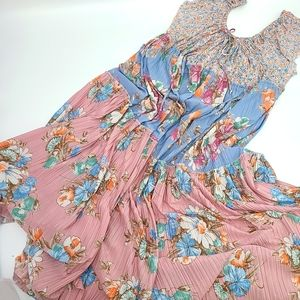 Vintage Gordon L Clarke Floral Tier Maxi Dress
